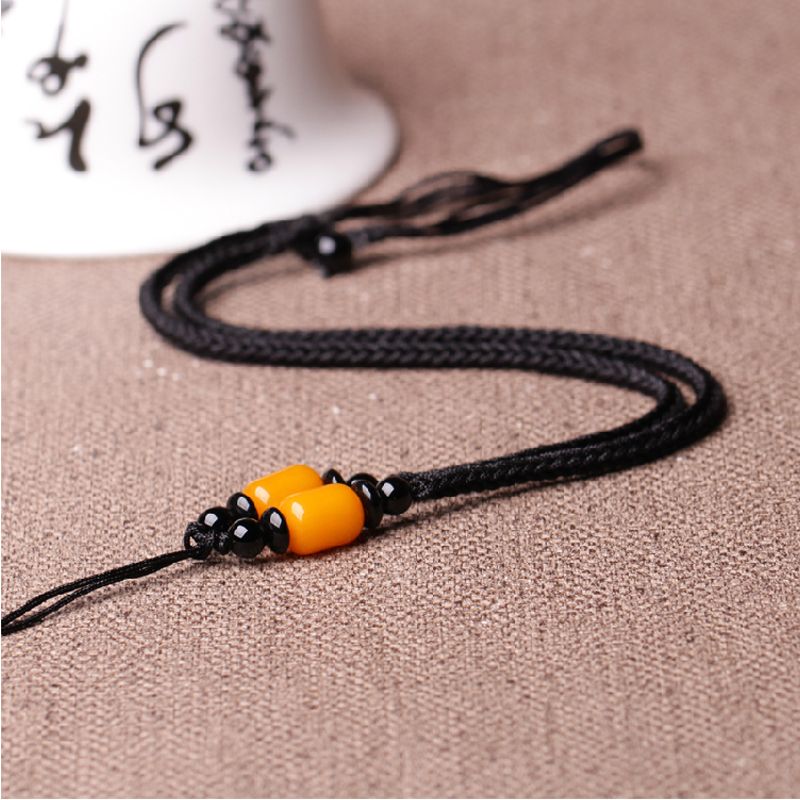 Xu zhen upscale models amber gold emerald jade crystal pendant rope pendant necklace lanyard rope variety of men and women