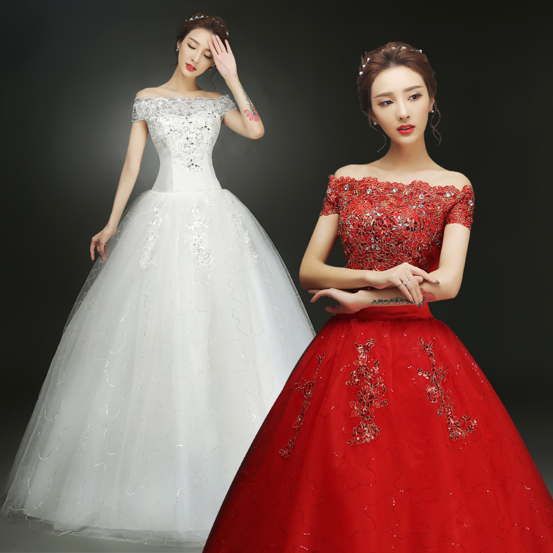 Xuan bride wedding dress 2016 new big red wedding dress slim was thin big yards qi word shoulder shoulder