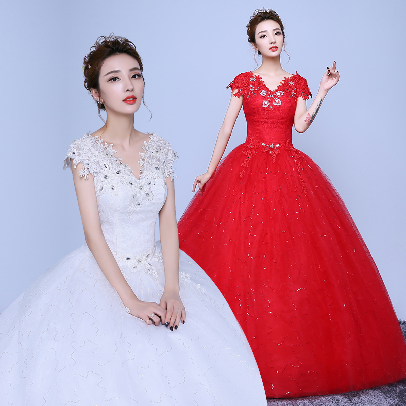Xuan bride wedding dress 2016 new korean qi word shoulder wedding dress big red shoulder wedding dress korean slim was thin