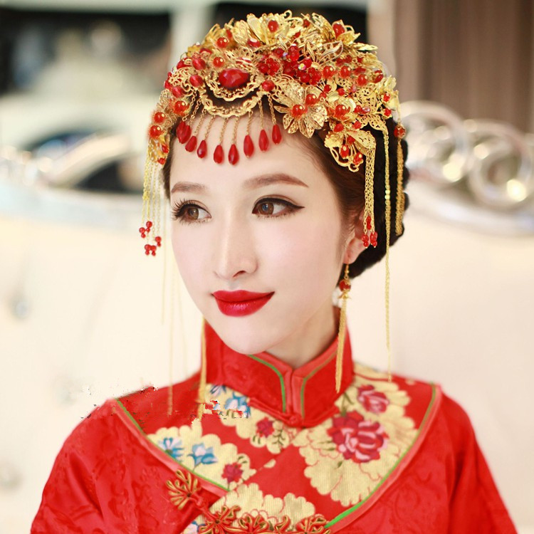 Xuan li ying xiu complex of ancient chinese bride costume headdress xiu clothing dragon and phoenix gown headdress headdress hair accessories kit