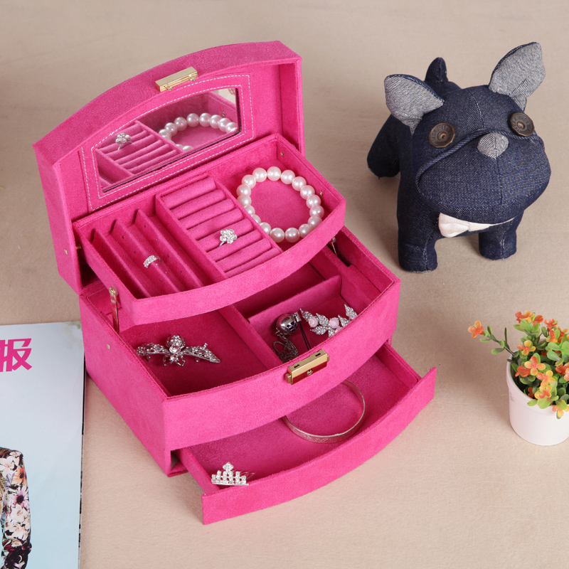 Ya concept flannel three large capacity automatic dressing european princess jewelry jewelry storage box