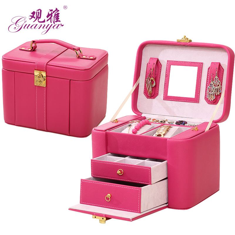 Ya concept of european princess velvet jewelry box wooden jewelry box with lock ring earring storage box new