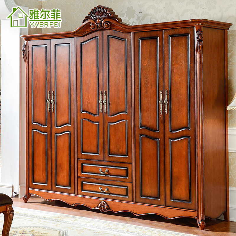 Ya erfei european classical bedroom furniture wardrobe closet cloakroom wardrobe closet american country six wood armoire wardrobe door
