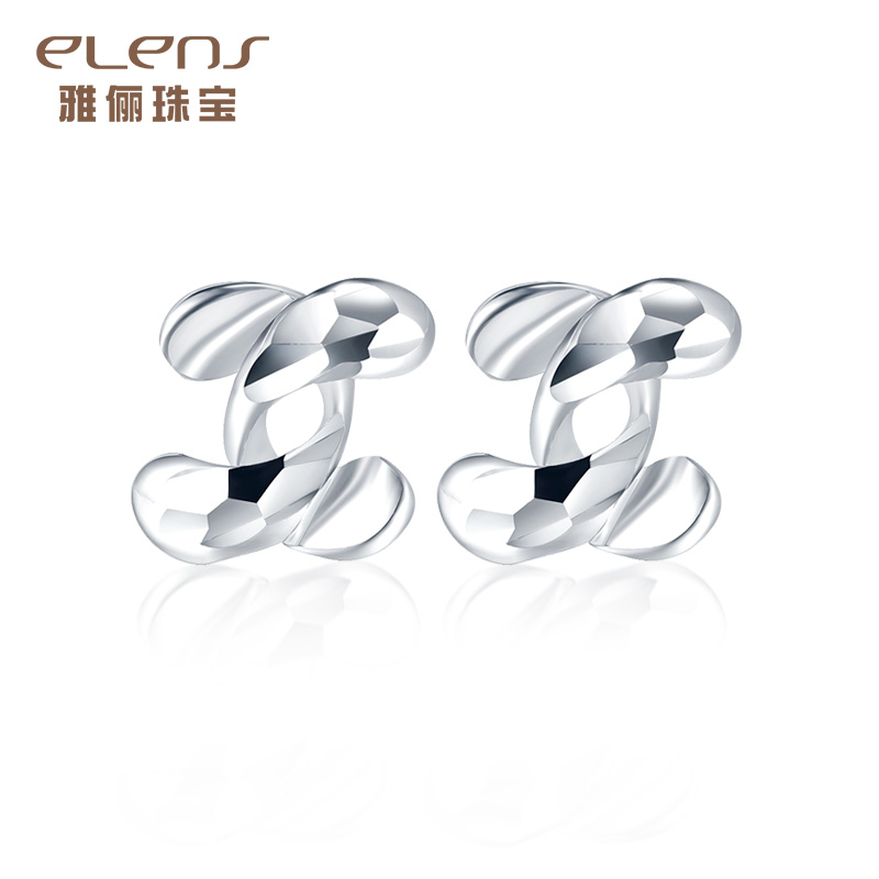 Ya li jewelry double c glossy earrings ear hook earrings female models pt950 platinum platinum jewelry to send his girlfriend a gift