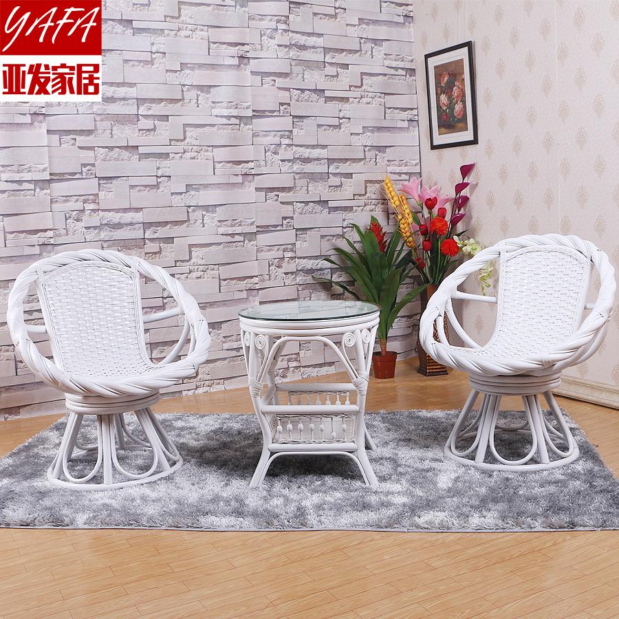 Yafa true home three sets of white swivel chair leisure furniture rattan chair rattan coffee table combination special offer to send cushion