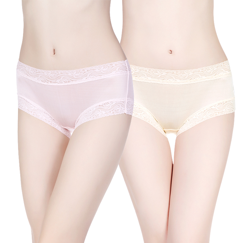 Yami joe silk female silk lace seamless low waist boxer underwear two loaded 100% mulberry silk