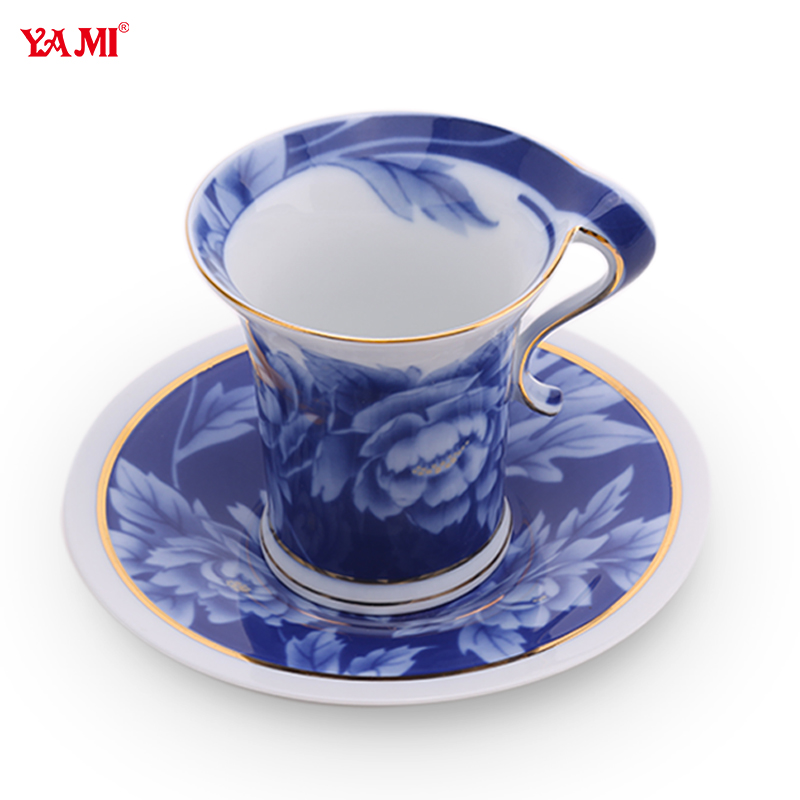 Yami yami blue peony bone china coffee cup dish containing simple and elegant chinese style cup of fancy cup flower cup