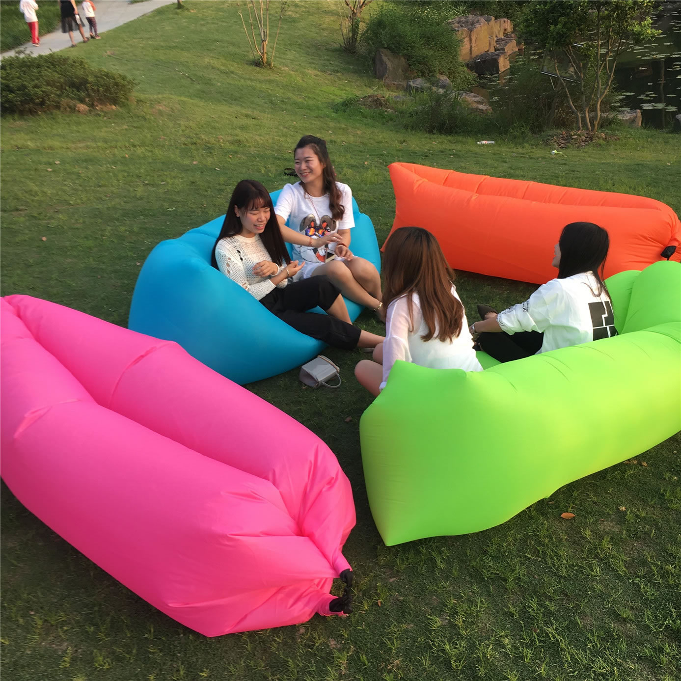 Yan Cloud Outdoor Inflatable Sofa Beanbag Chair Beach Bed Sleeping Bag Can Be Folded