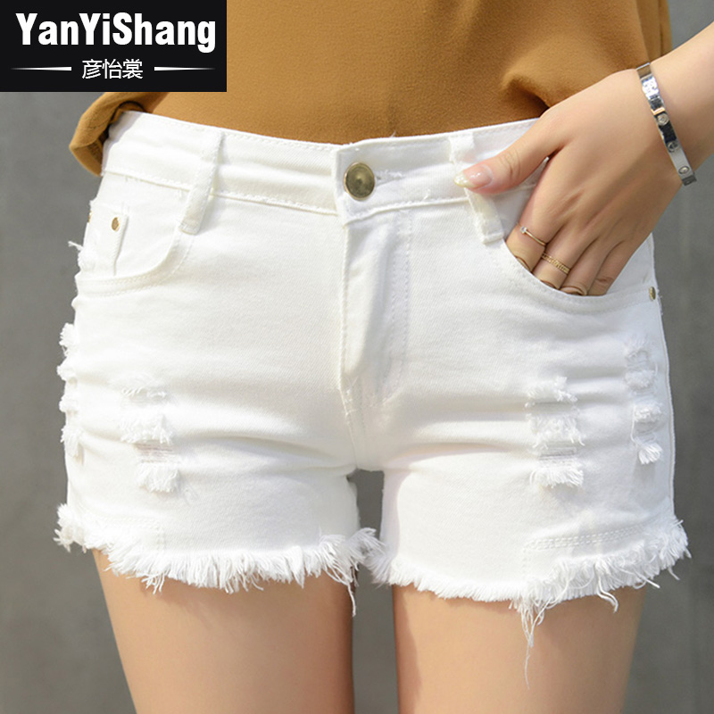 Yan yee sang women new spring and autumn female summer low waist wild hole white denim shorts shorts female