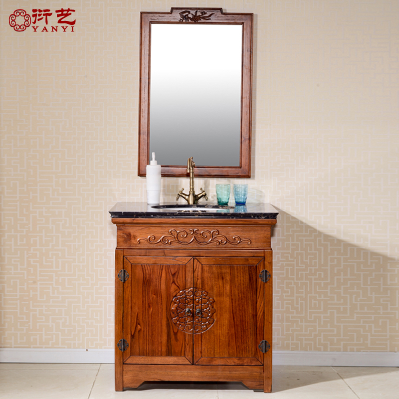 Yan yi antique bathroom cabinet bathroom cabinet marble countertops bathroom cabinet combination of chinese solid wood small apartment bathroom washing sieve taiwan