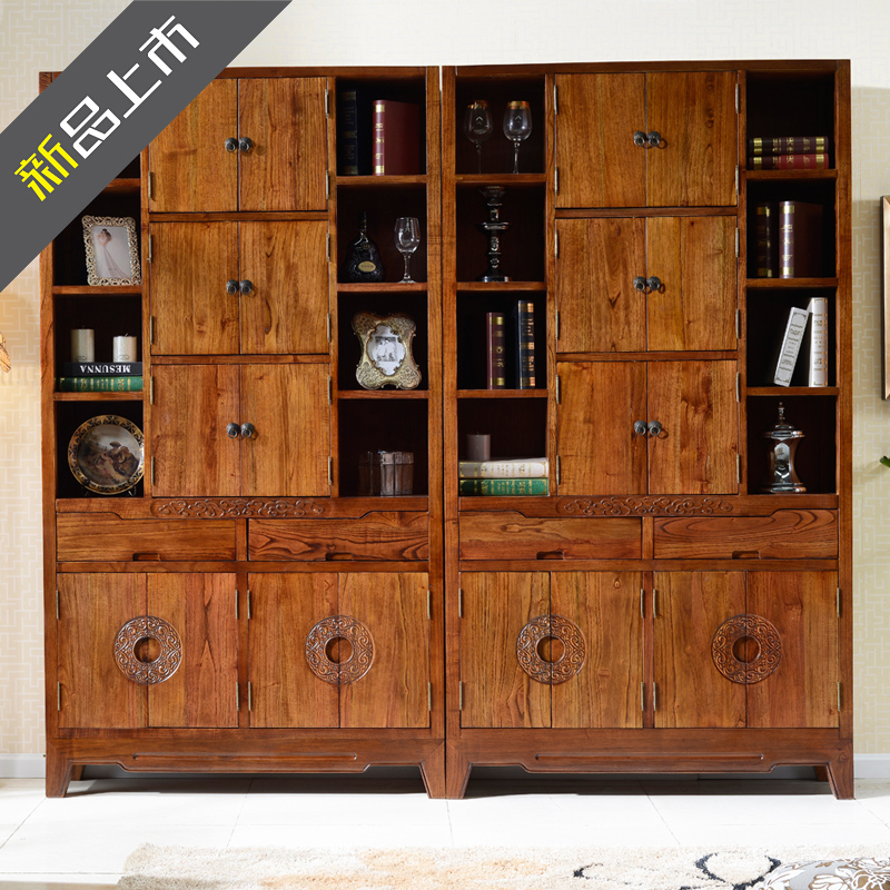 Yan yi modern chinese classical chinese wood bookcase combination bookcase shelf off antique curio shelf