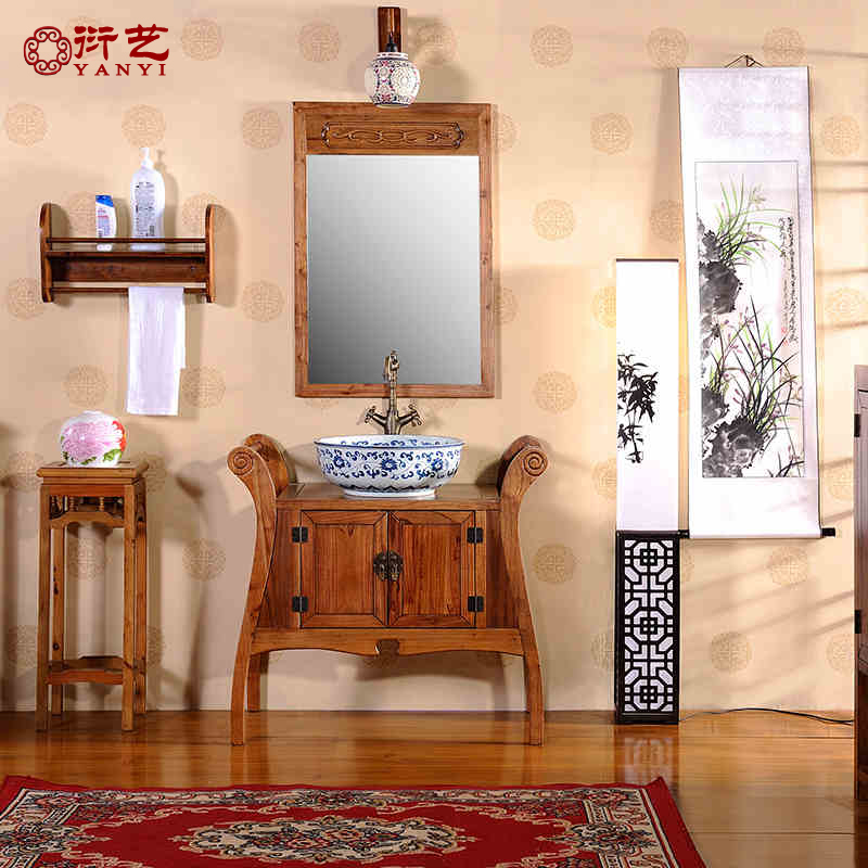 Yan yi solid wood floor bathroom cabinet combination of chinese antique bathroom cabinet bathroom cabinet vanity washbasin contadino