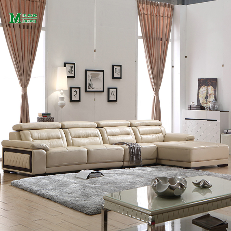Yang ming ju euclidian pale yellow leather sofa leather sofa living room combination corner leather sofas imported the first layer of cow leather