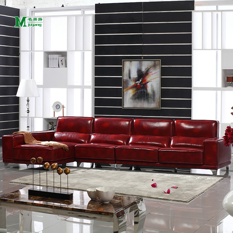 Yang ming ju high by large burgundy qingpi around the first layer of imported leather sofa leather sofa living room combination of european leather sofa