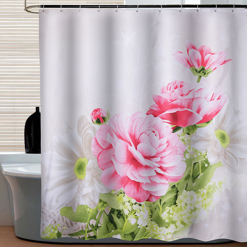 Yang yun new peony thick waterproof mildew shower curtain fabric shower curtain bathroom curtain curtain curtain hooks to send