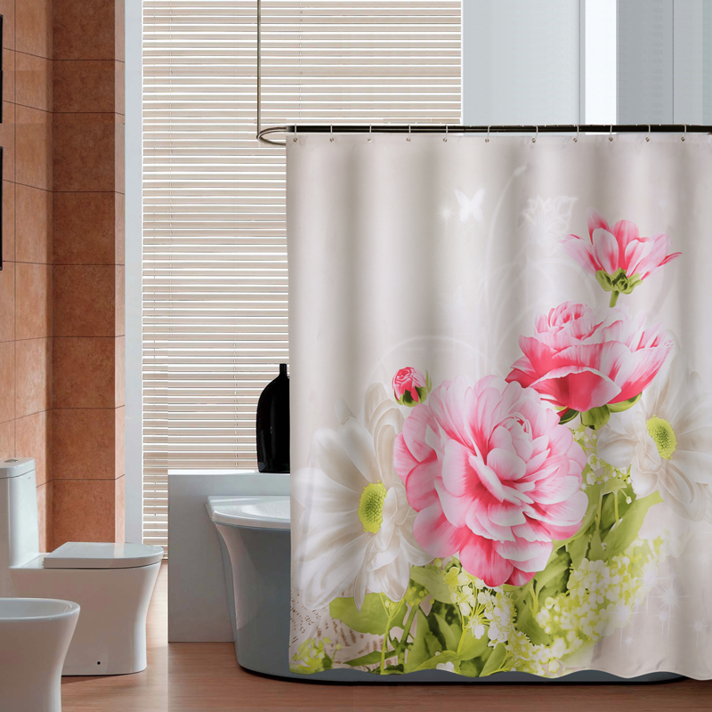 Yang yun new peony thick waterproof mildew shower curtain fabric shower curtain bathroom curtain hooks to send