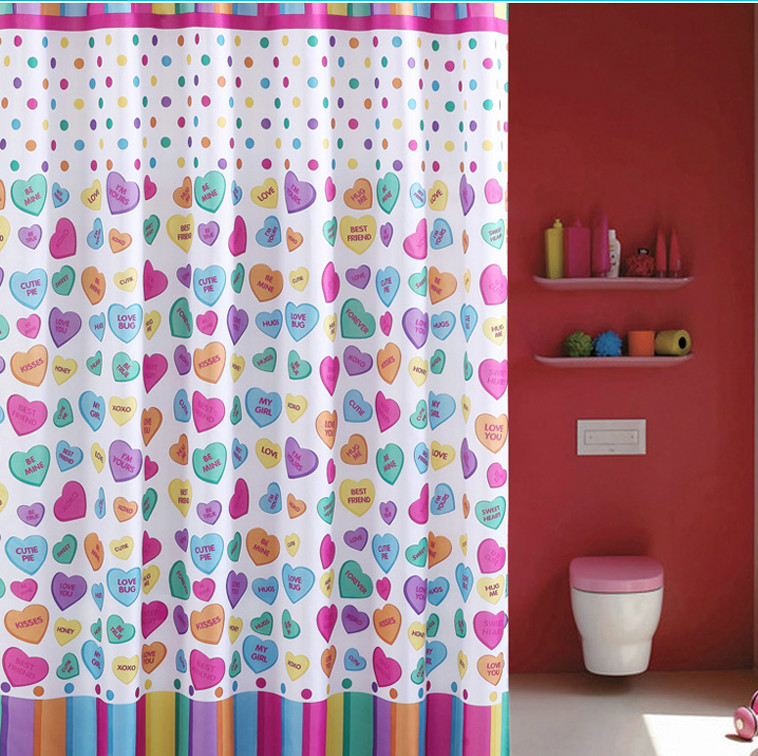 Yang yun shipping love bathroom mildew thick waterproof polyester shower curtain hooks to send heavier sinker