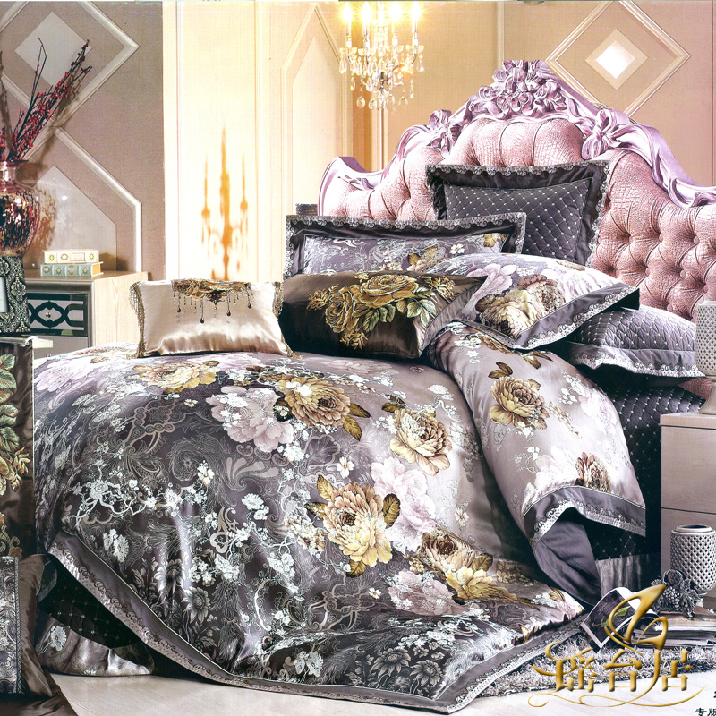 Yaotai ranking european luxury satin jacquard bedding ten sets of bedding set pieces 7SP-WDLYH