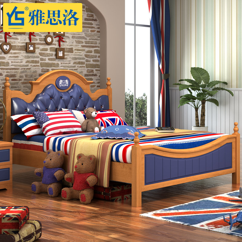 Yasi luo children wood bed single bed children's furniture suite combination of american children's bed boy prince bed