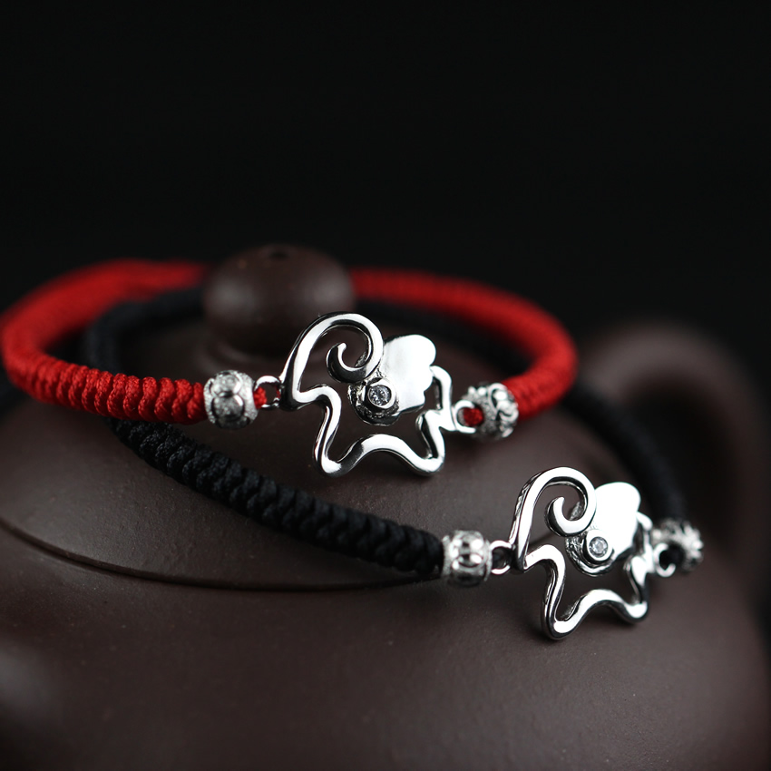 Year of the ram natal red string bracelet female bracelet knitting sheep boats 925 silver lettering creative birthday gift couple