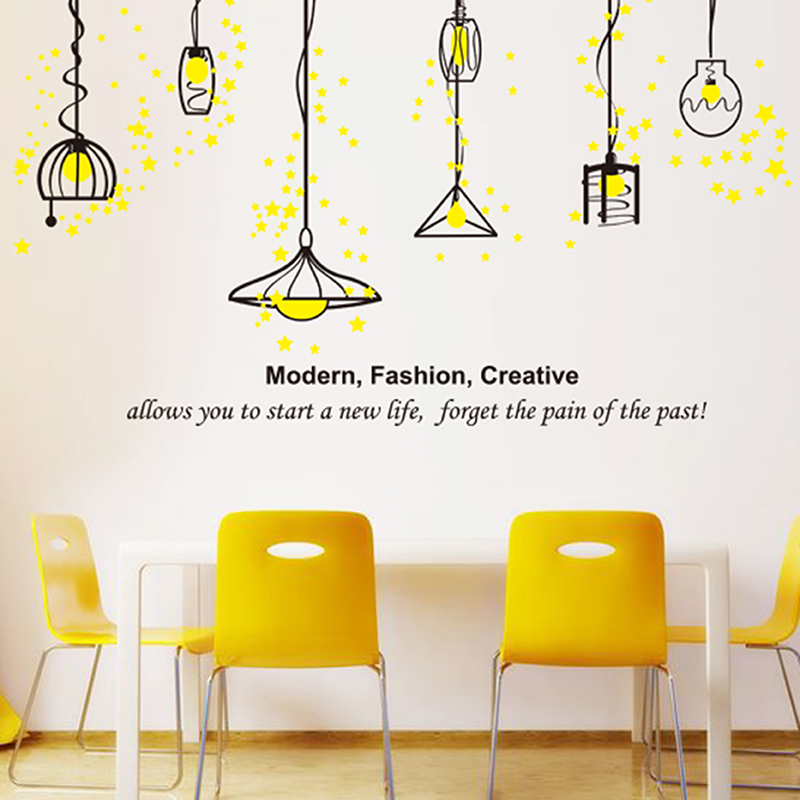 Yellow light bulb kitchen sofa background droplight background european style wall stickers pastoral style living room ceiling lights ornaments