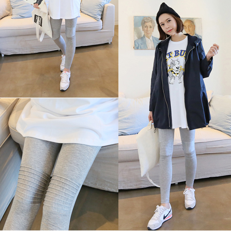 Yfk pregnant women pants trousers spring big yards outer wear thin section leggings care belly pants feet pants korean tidal wild mom