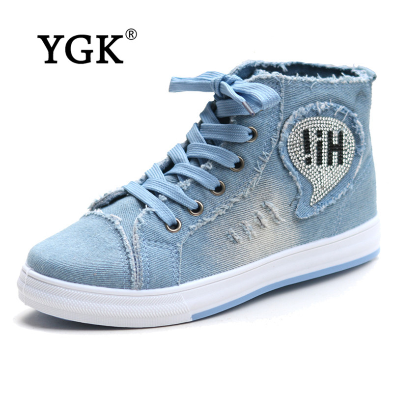 Ygk fashion brand canvas shoes female korean high to help students cowboy shoes summer shoes ladies shoes 8839