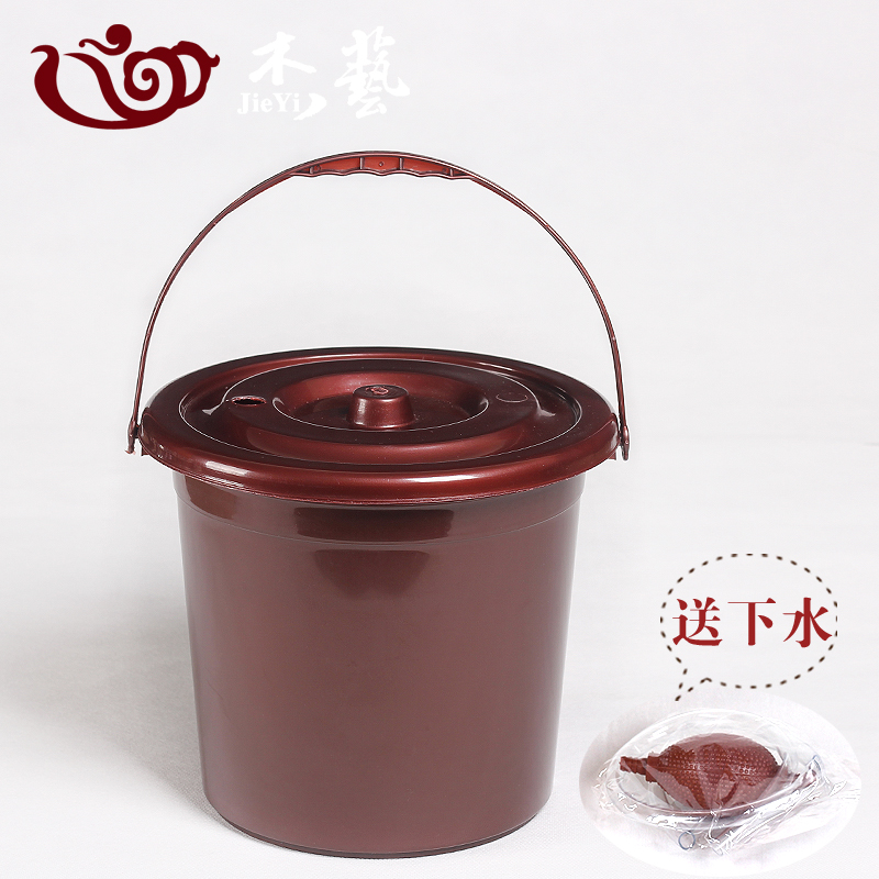 Yi jie thick red plastic bucket detong tea leaves debris bucket wastewater drainage bucket bucket bucket with zero
