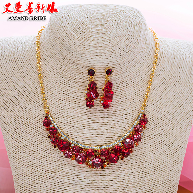 Yi mandi bride bridal necklace earrings set korean wedding party color diamond wedding jewelry sets of chain dress with accessories