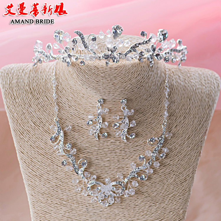 Yi mandi bride crown necklace earrings three sets of european and american headdress hair accessories wedding accessories wedding jewelry suite