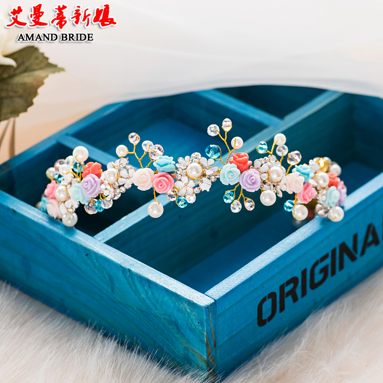 Yi mandi bride headdress korean sweet handmade qinxin colored flowers with jewelry wedding hair ornaments hair bands