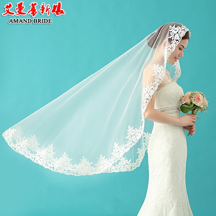 Yi mandi bride veil korean new lace bridal wedding veil wedding veil lace wedding dress accessories 25