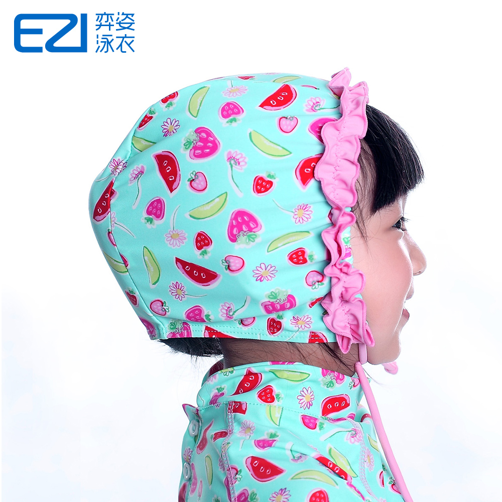 Yi pose new design ezi watermelon flower girls swimming cap swimming cap swimming cap swimming cap swimming cap swimming cap children drawstring 20051