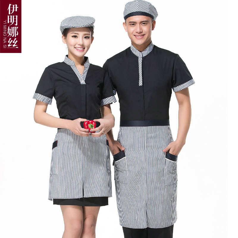 Yi silk minna hotel overalls summer hotel restaurant fast food restaurant waiter overalls sleeved overalls female
