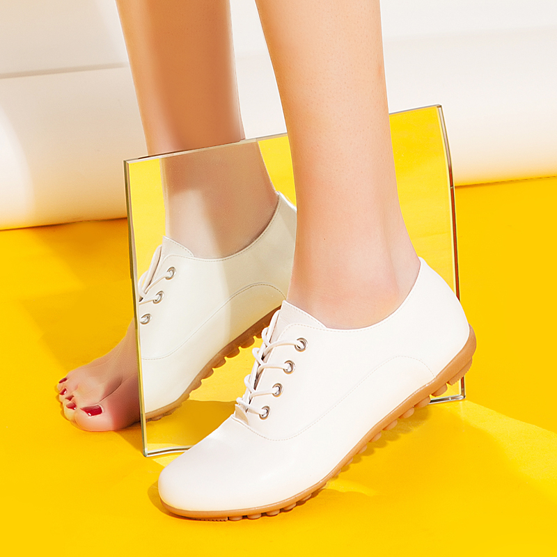 Yi ya new spring fashion casual shoes white shoes lace flat white shoes round single shoes sports shoes women shoes