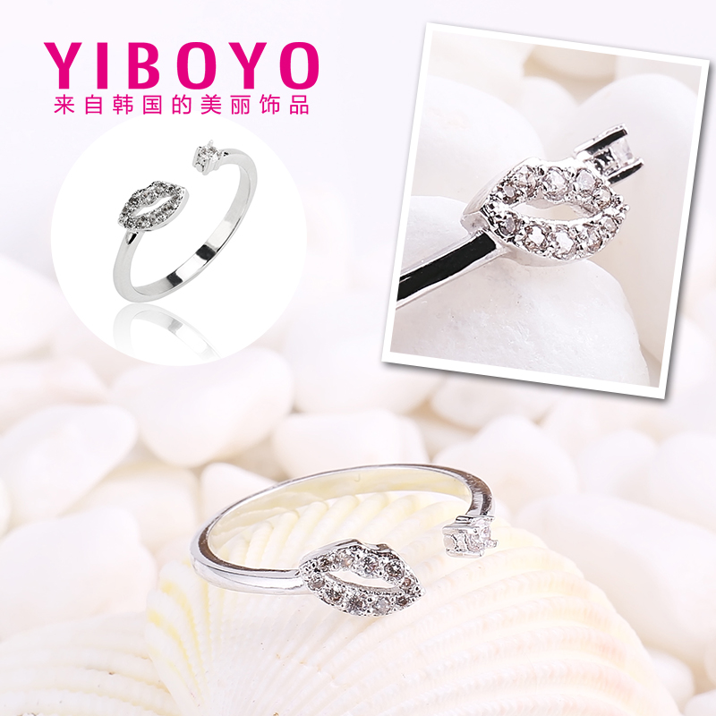 Yiboyo korea small jewelry female ring opening japan and south korea diamond inlaid decorative silver jewelry personalized ring