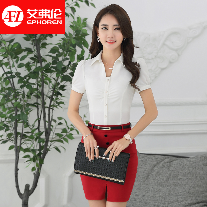 Yifu lun summer short sleeve dresses women wear shirt slim was thin white shirt work wear overalls