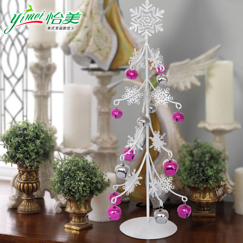 Yimei tabletop mesa small wrought iron christmas tree mini christmas tree snowflake christmas tree ornaments decorations