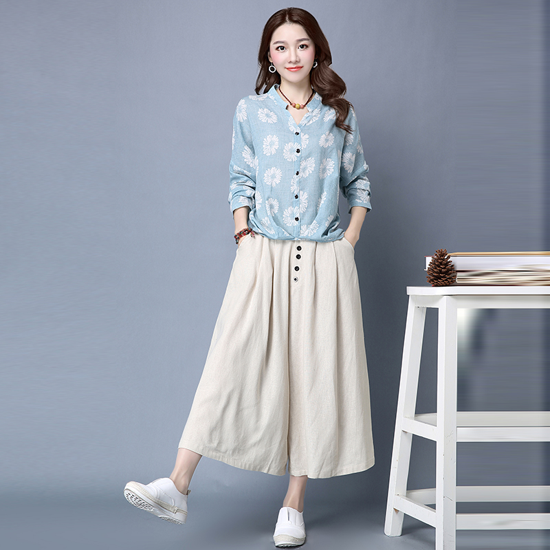 Yin plus 2016 hitz korean version of large size women's long sleeve printed blouse wild culottes two sets of suits