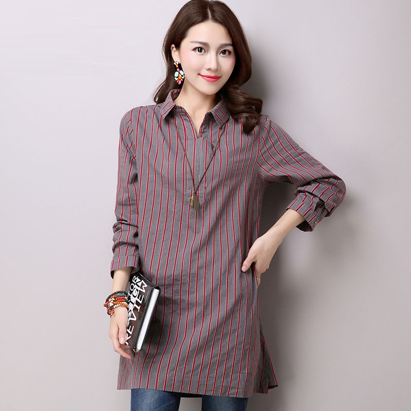 Yin plus 2016 hitz korean women loose long sleeve striped shirt large size women cotton casual shirt