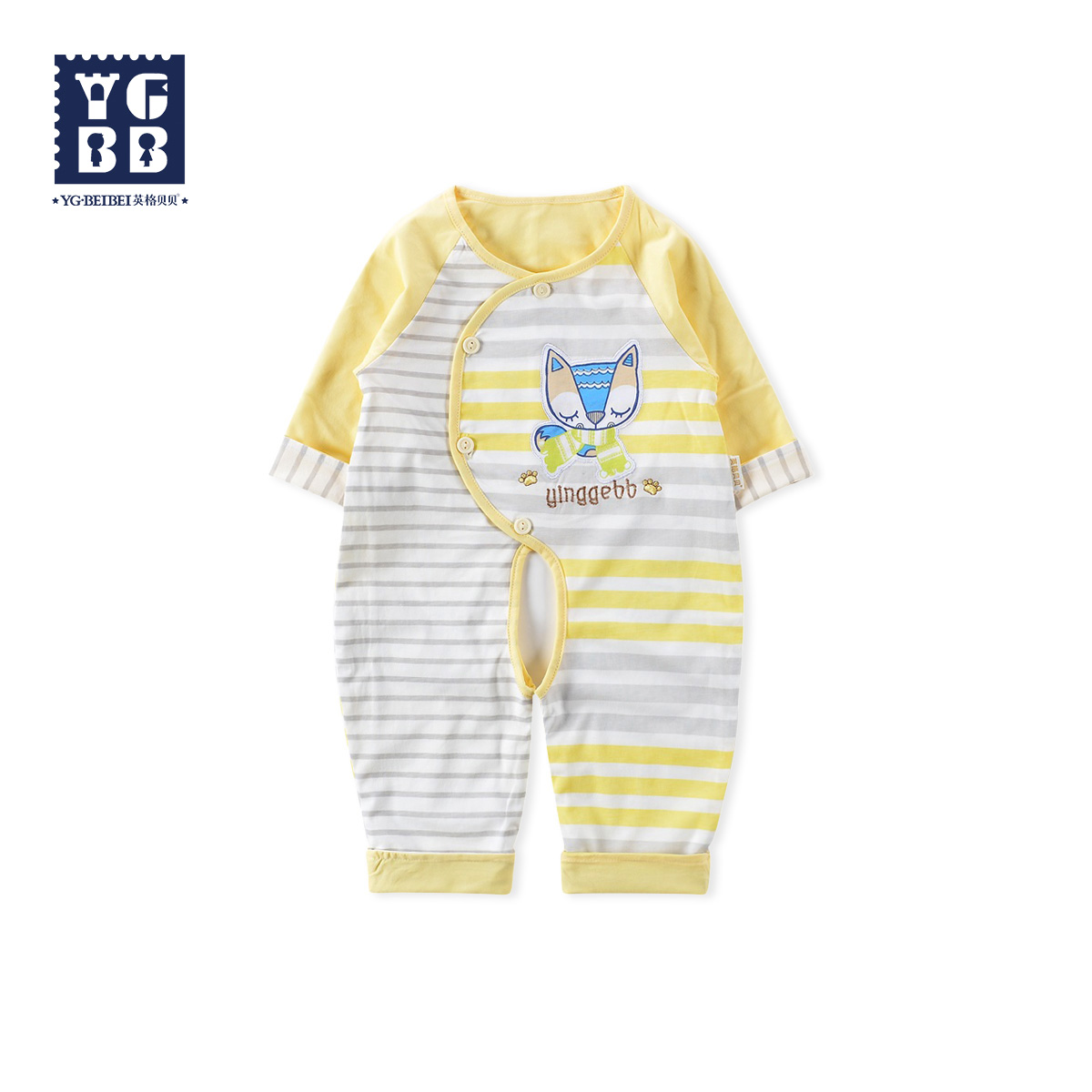 Ying ge beibei 2016 new male baby spring and autumn thin section double romper jumpsuit out clothes infant clothes