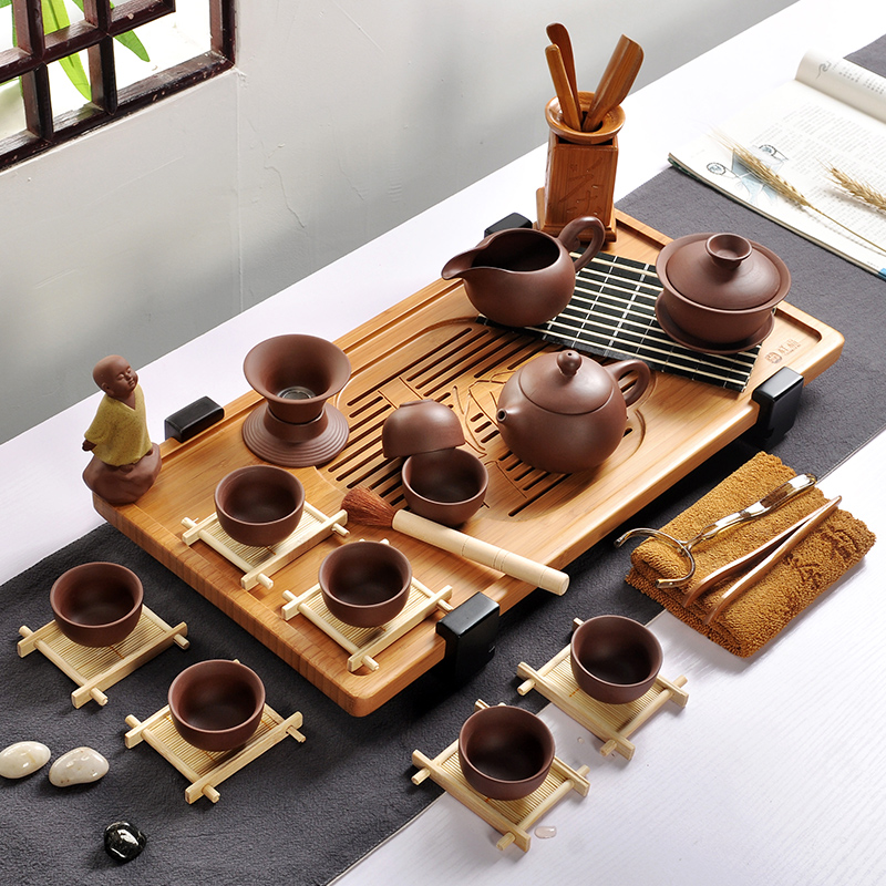 Ying xin yixing ceramic kung fu tea bamboo tea tray tea set package covered tea cup teapot tea special offer free shipping