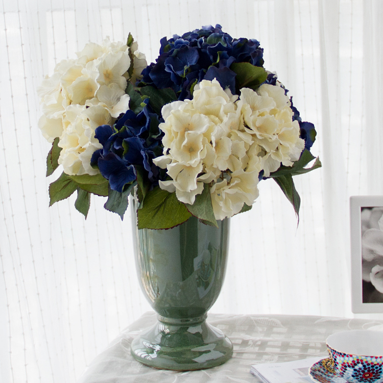 Yixuan european wealth large hydrangea set artificial flowers silk flower fake living room decorative flower vase floral home accessories