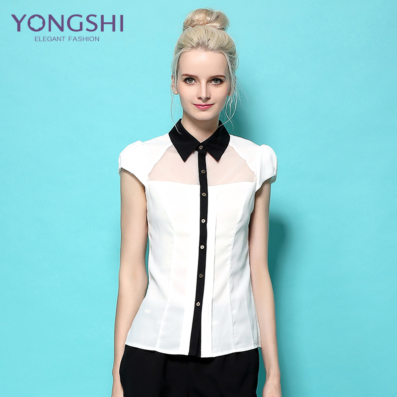 2be985789bc Get Quotations · Yong shi 2016 summer office work room yet when bottoming  shirt ol shirt women large size