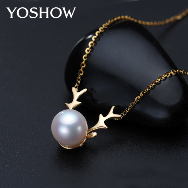 Yoshow akoya japanese akoya pearl pendant necklace 8-8.5 k gold genuine