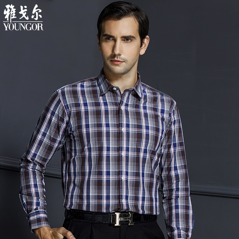 Younger men long sleeve shirt slim models fall and winter business casual plaid shirt men square collar cotton shirt