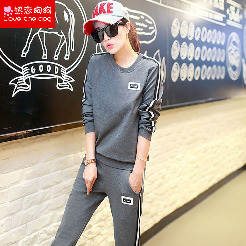Youth 2016 spring and autumn new fashion girls long sleeved sweater trousers junior high school students leisure sports suit
