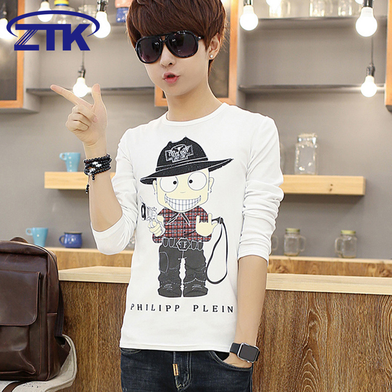 Youth long sleeve t-shirt male korean version of skinny men's cartoon printed t-shirt summer male students loaded round neck shirt