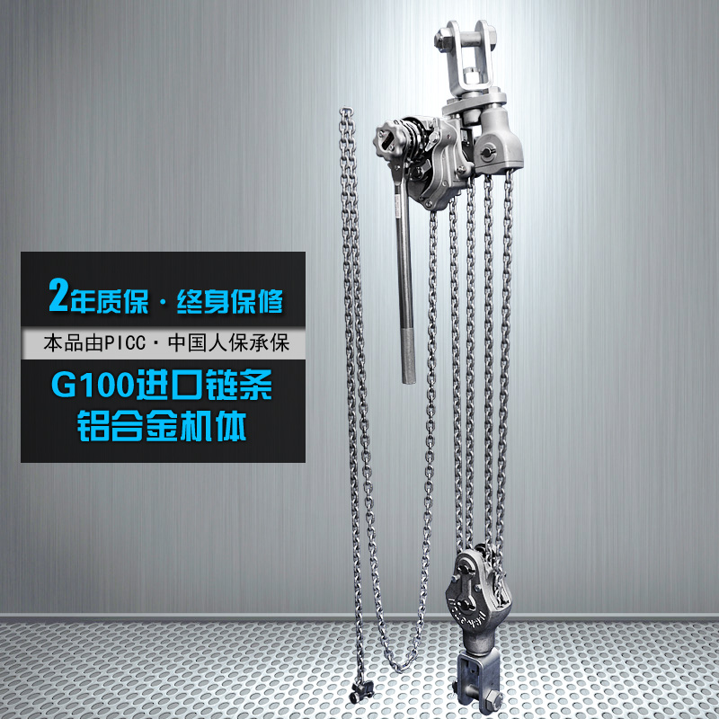 Yu carved g100 0.75T1.5T3T6 tons of imported aluminum alloy chain lever hoist chain hands move gourd