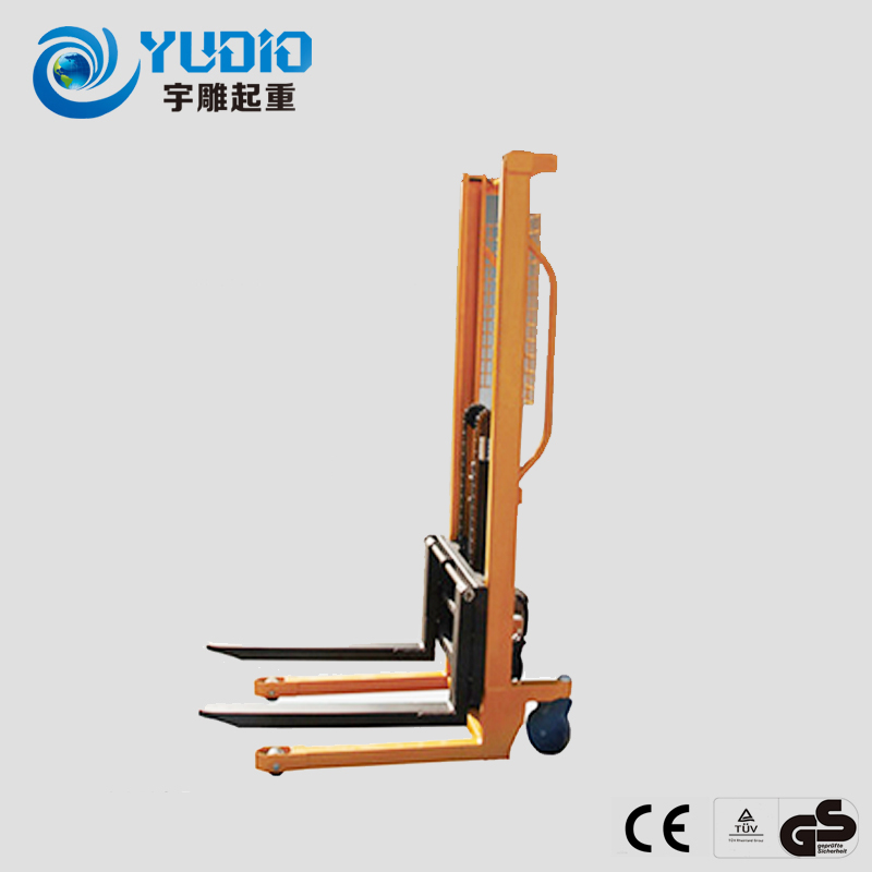 Yu carved manual forklift stacker hydraulic increased car manual hydraulic loading and unloading trucks pallet lift trucks